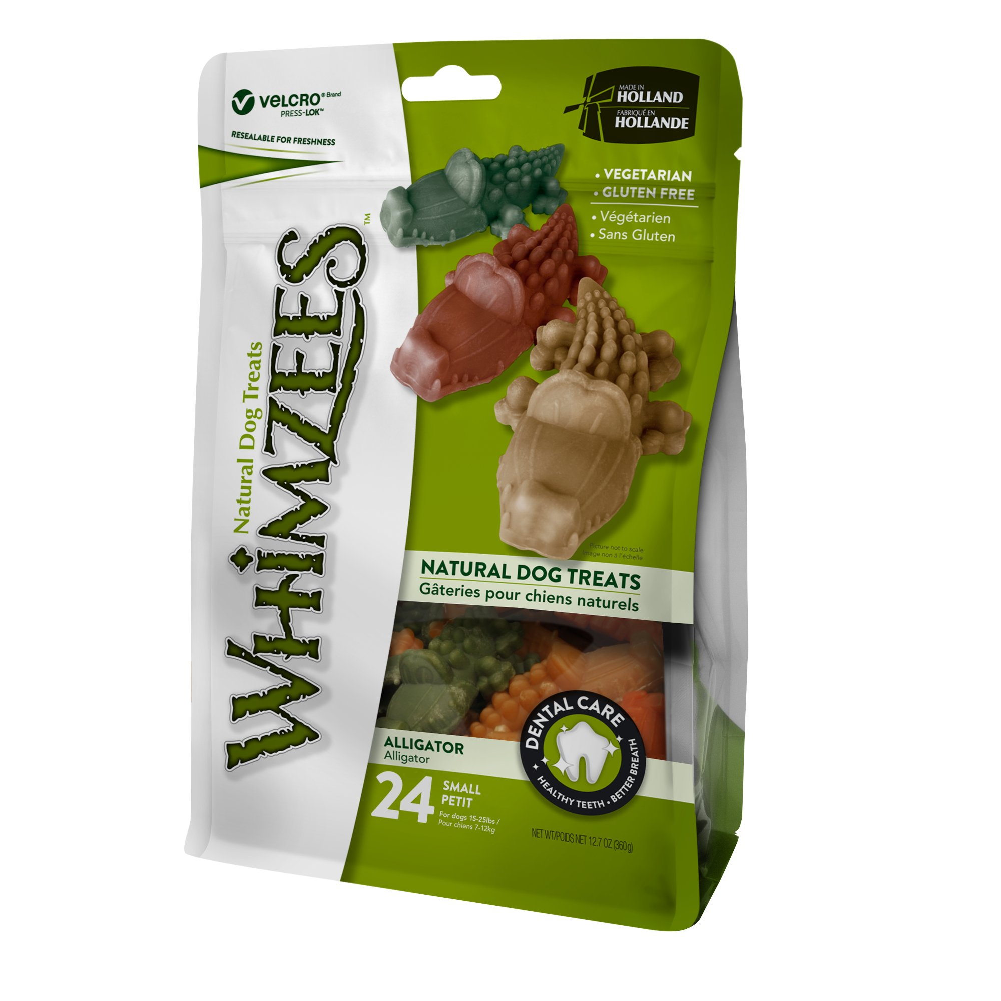 Whimzees Small Alligator Dog Treats 24 Pieces Natural Dog