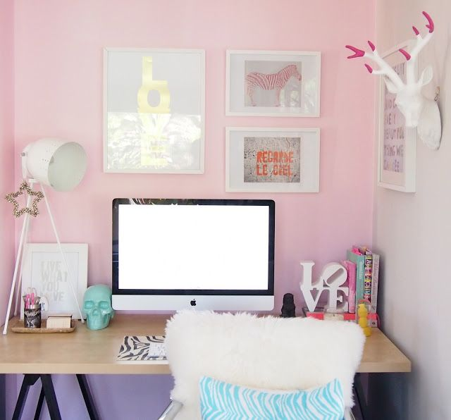 Pink Office, Home Office Decor, Room