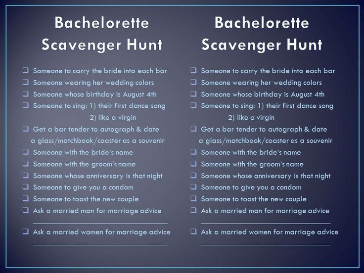 Classy And Silly Bachelorette Scavenger Hunt Checklist