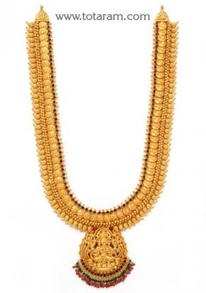 Check out the deal on 22K Gold Lakshmi Kasu Long Necklace Temple