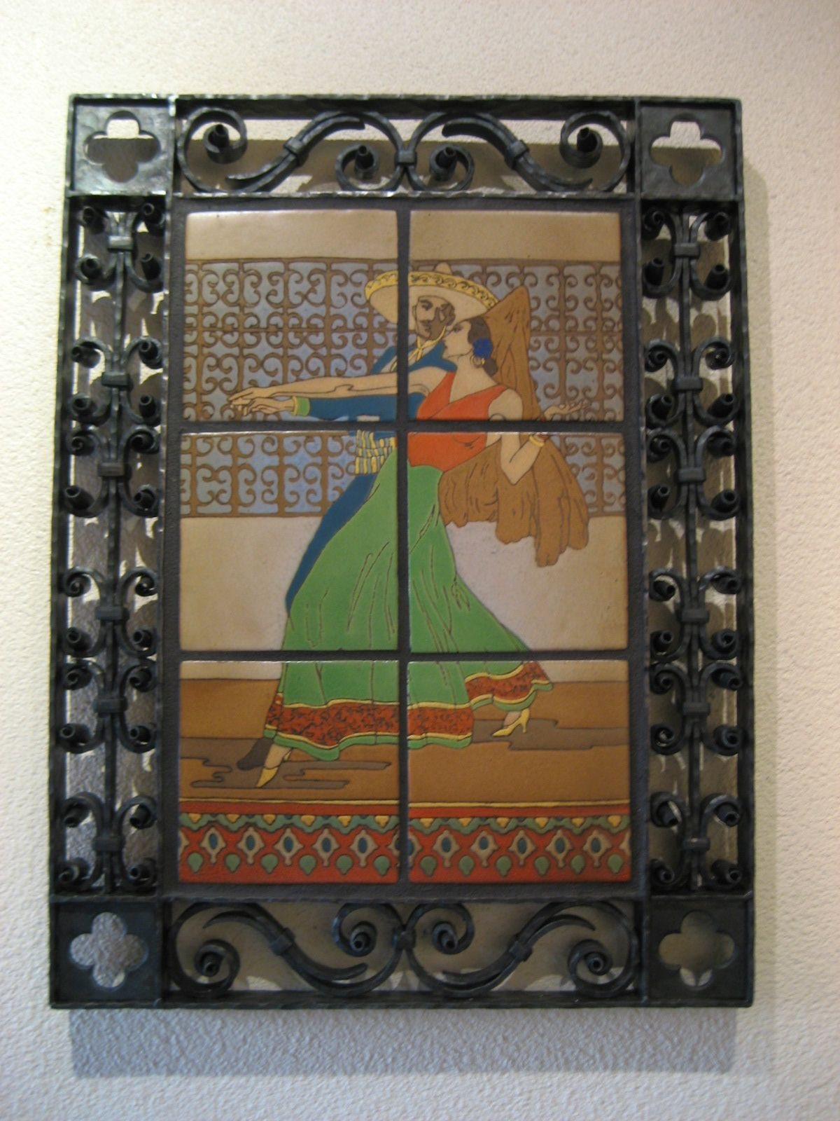 Very Rare Tile Mural In Our Very Detailed Wrought Iron Frame