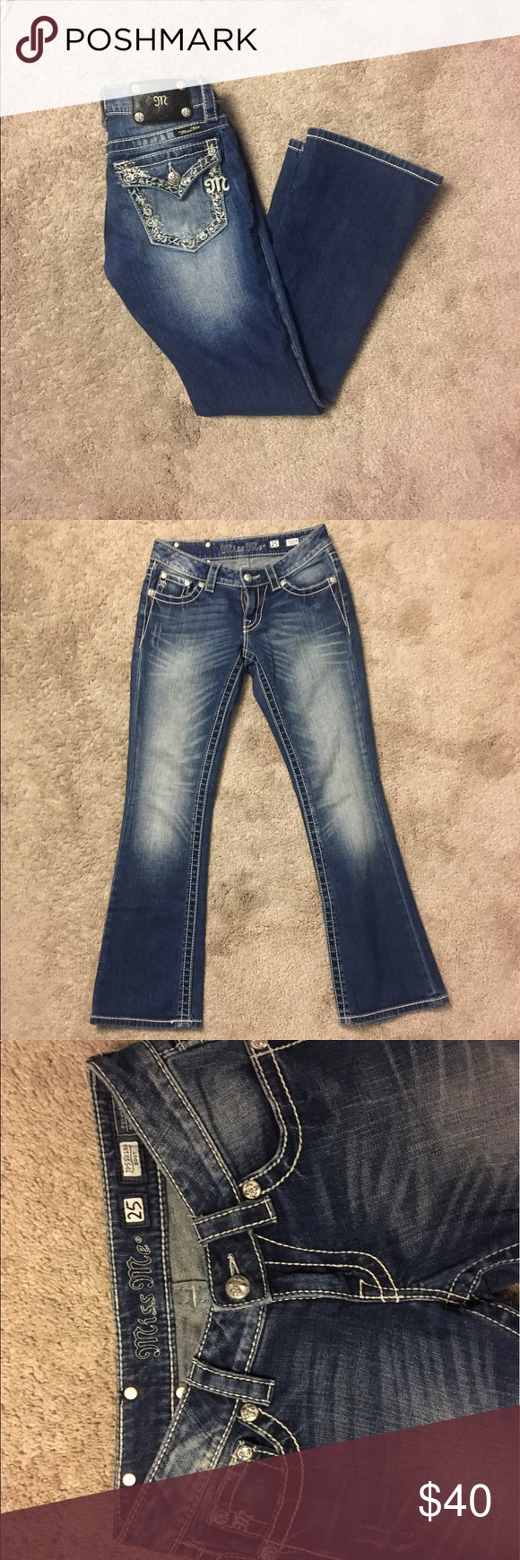 Miss Me Boot Cut Jeans Miss Me Boot Cut Jeans, excellent condition besides a small mark on the back that isn't very noticeable while wearing, size 25. Bundle and save! Miss Me Jeans Boot Cut