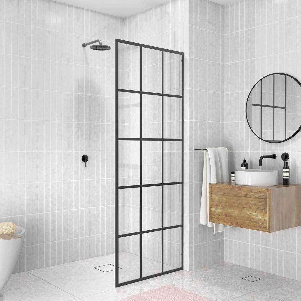 Glass Warehouse French Monture Noir 30 In W X 78 In H Fixed Single Panel Frameless Shower Door In Matte Black With Clear Glass Gw Fss 30 Mb The Home Depot In 2020 Frameless