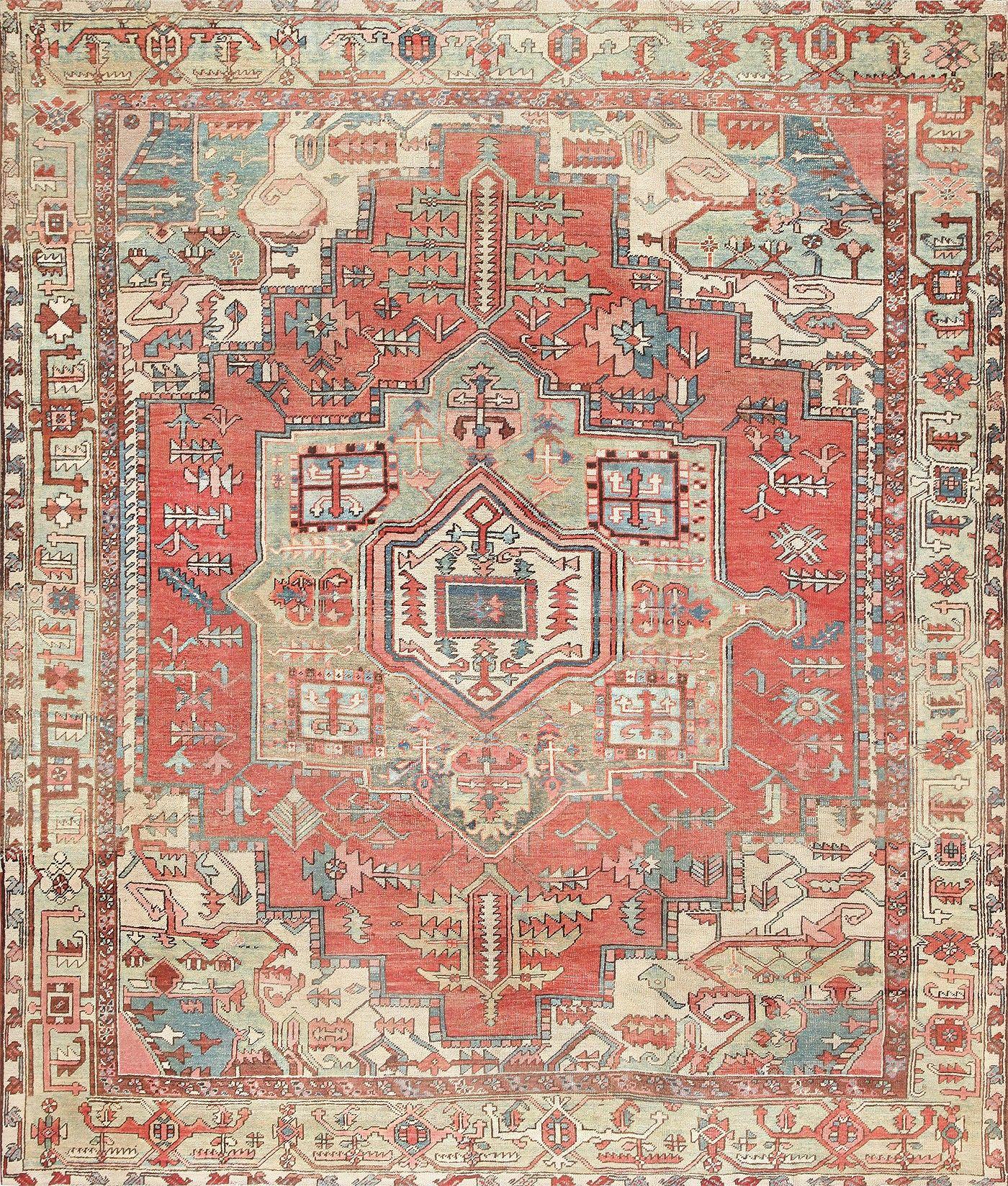 Antique persian heriz serapi rug 47444 turkish for Tejido persa