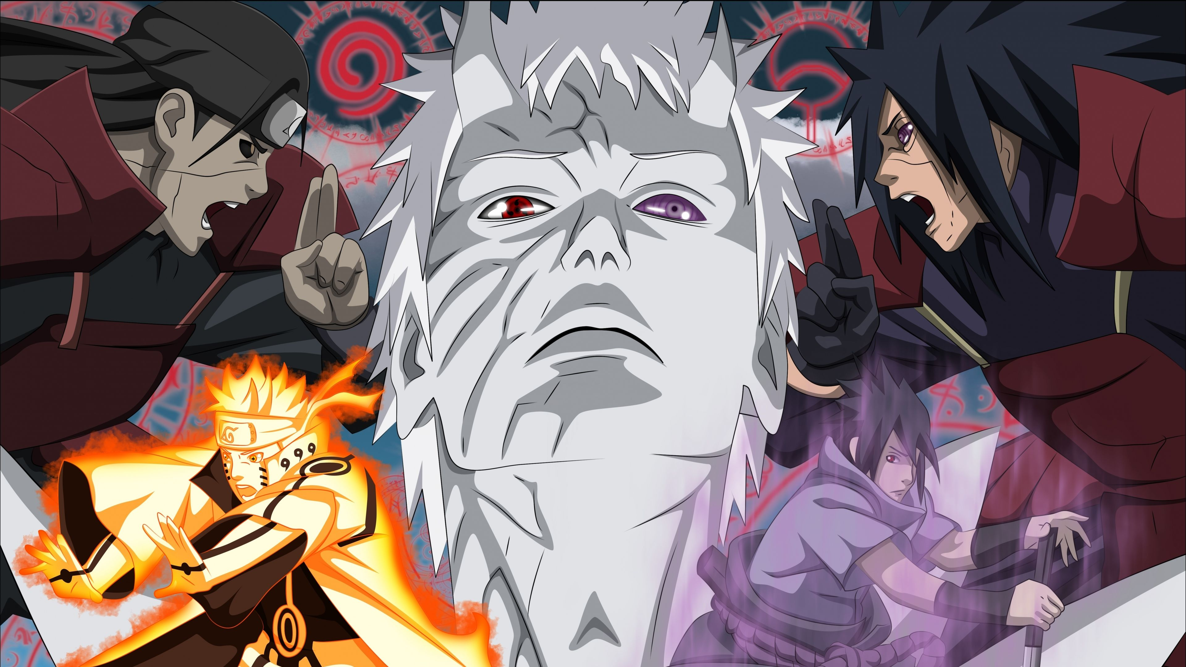 3840x2160 Wallpaper madara uchiha, naruto anime, obito