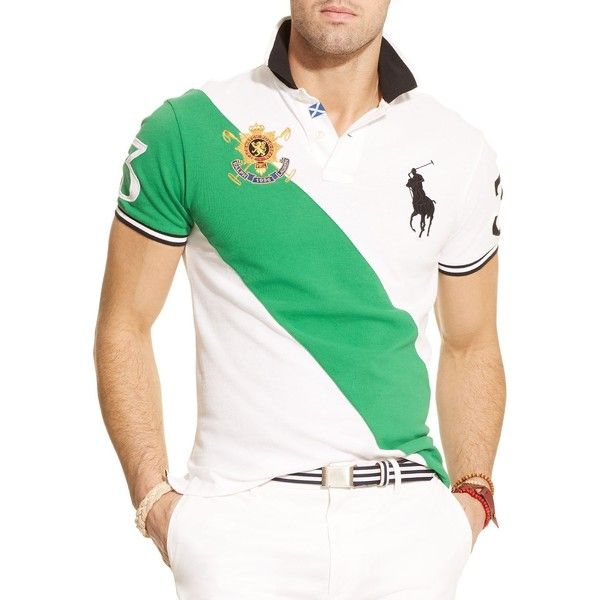 Polo Ralph Lauren Black Watch Custom-Fit Banner-Stripe Polo Shirt -... ($98) ❤ liked on Polyvore