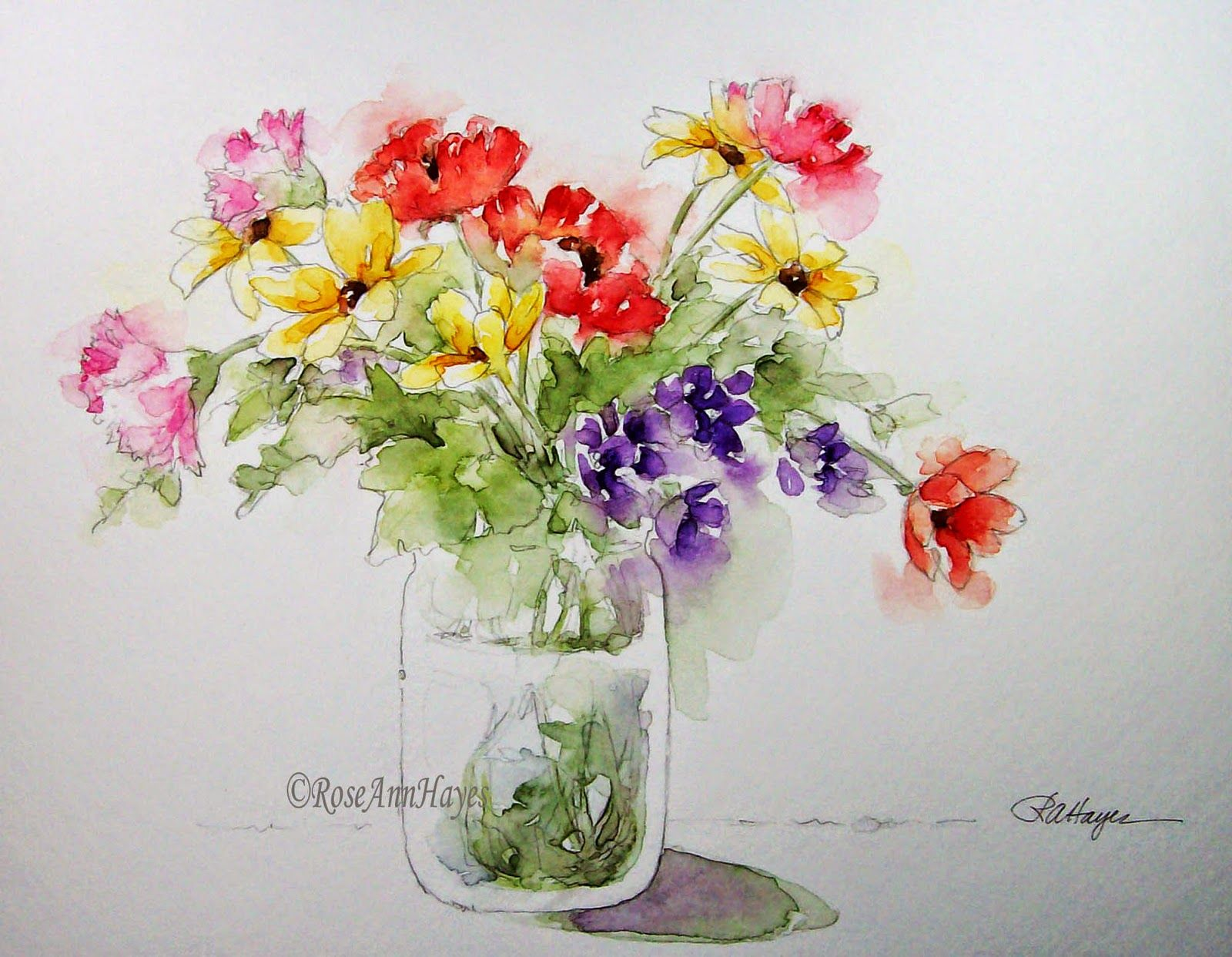 Floral Bouquet Watercolor Painting. Garden Flowers in an