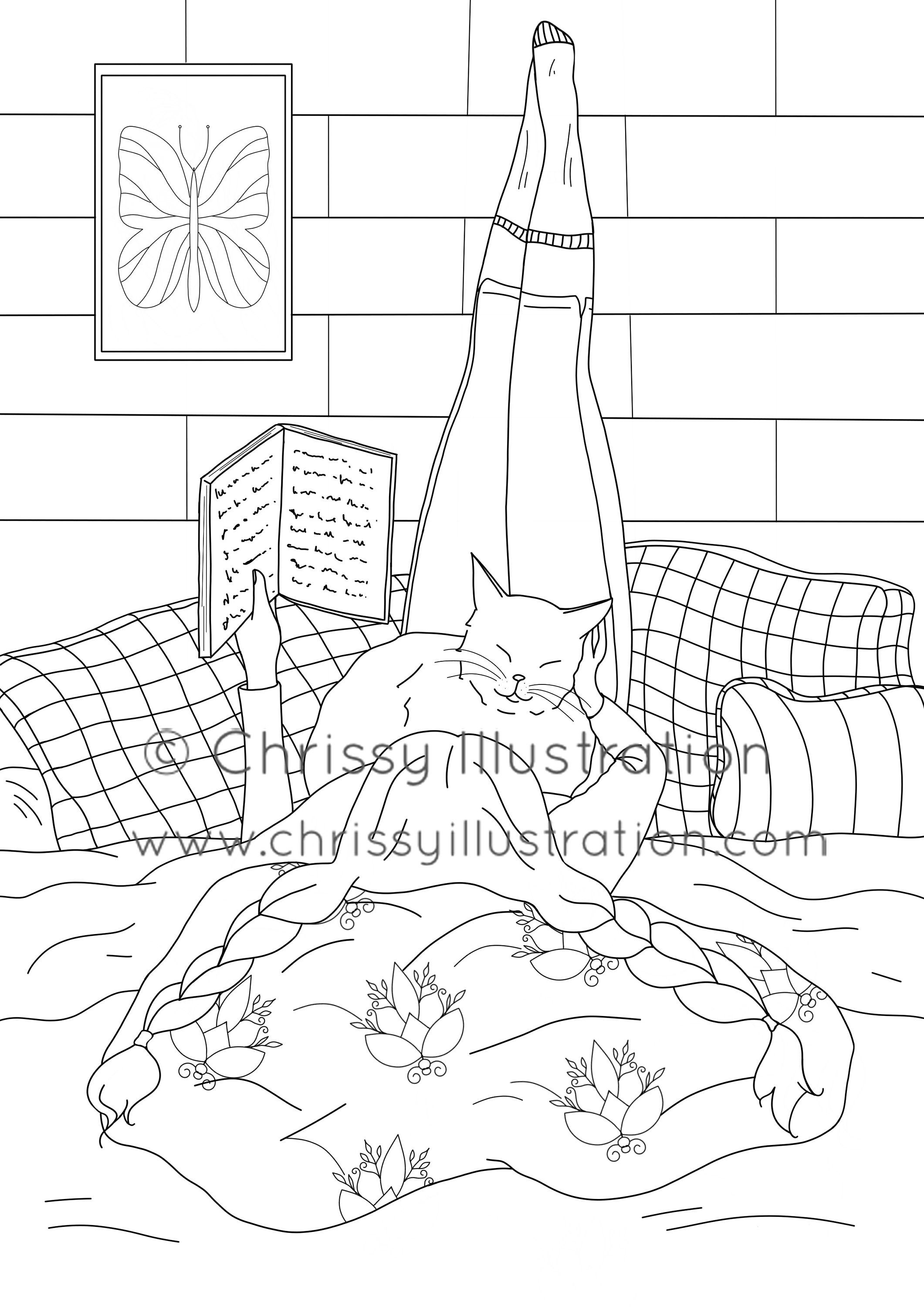 Coloring Page Girl With Cat And Book Cute Coloring Pages