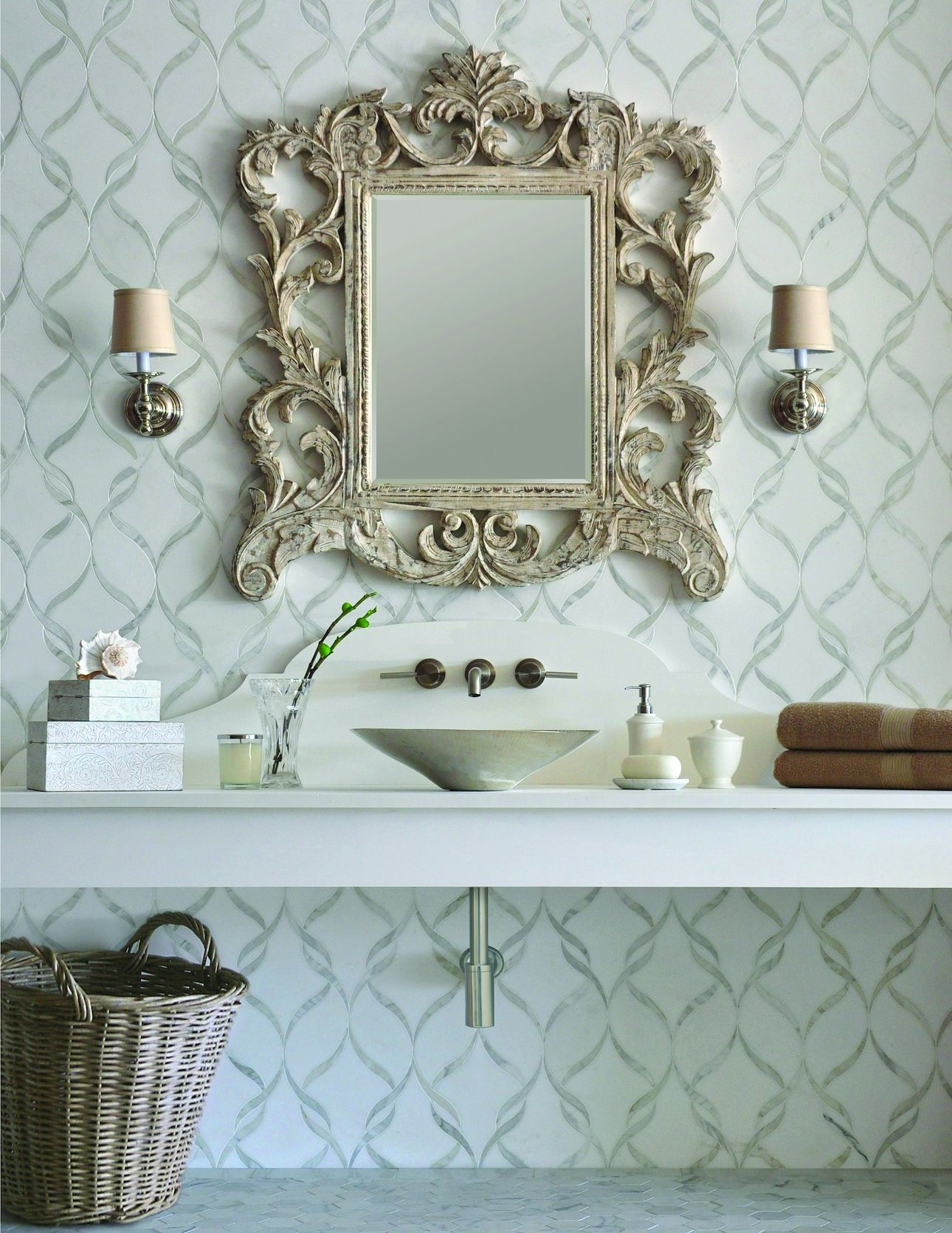 Wall Behind Mirror  Powder Room  Sophie, A Stone