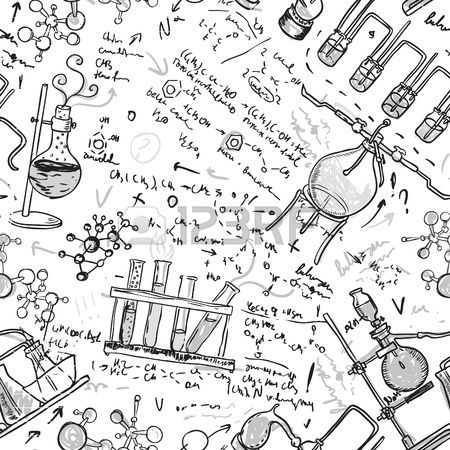 Old chemistry laboratory seamless pattern Vector