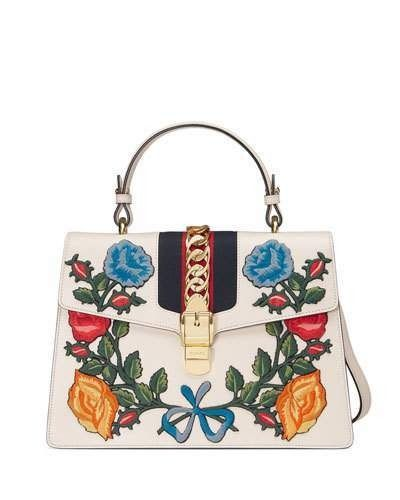 ce5c4e847b Gucci Sylvie Embroidered Leather Top-Handle Satchel Bag on ShopStyle ...