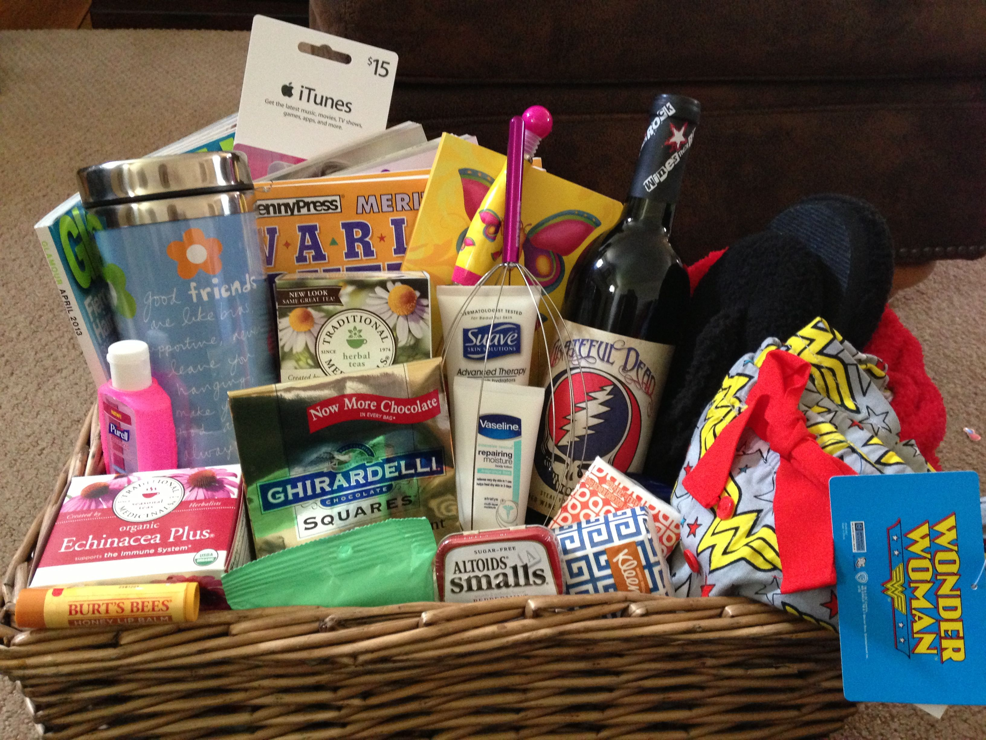 Basket for awesome friend after surgery my creations for Unusual get well gifts