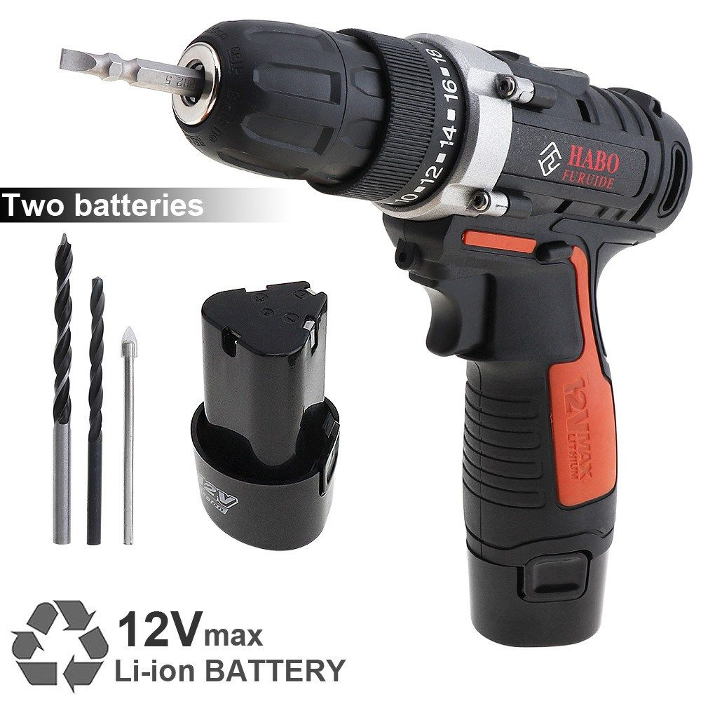 Furuide Cordless 12v Electric Drill Screwdriver With 2 Li Ion Batteries Two Speed Furuide Cordless Electric Drill Scr Electric Drill Drill Li Ion Battery