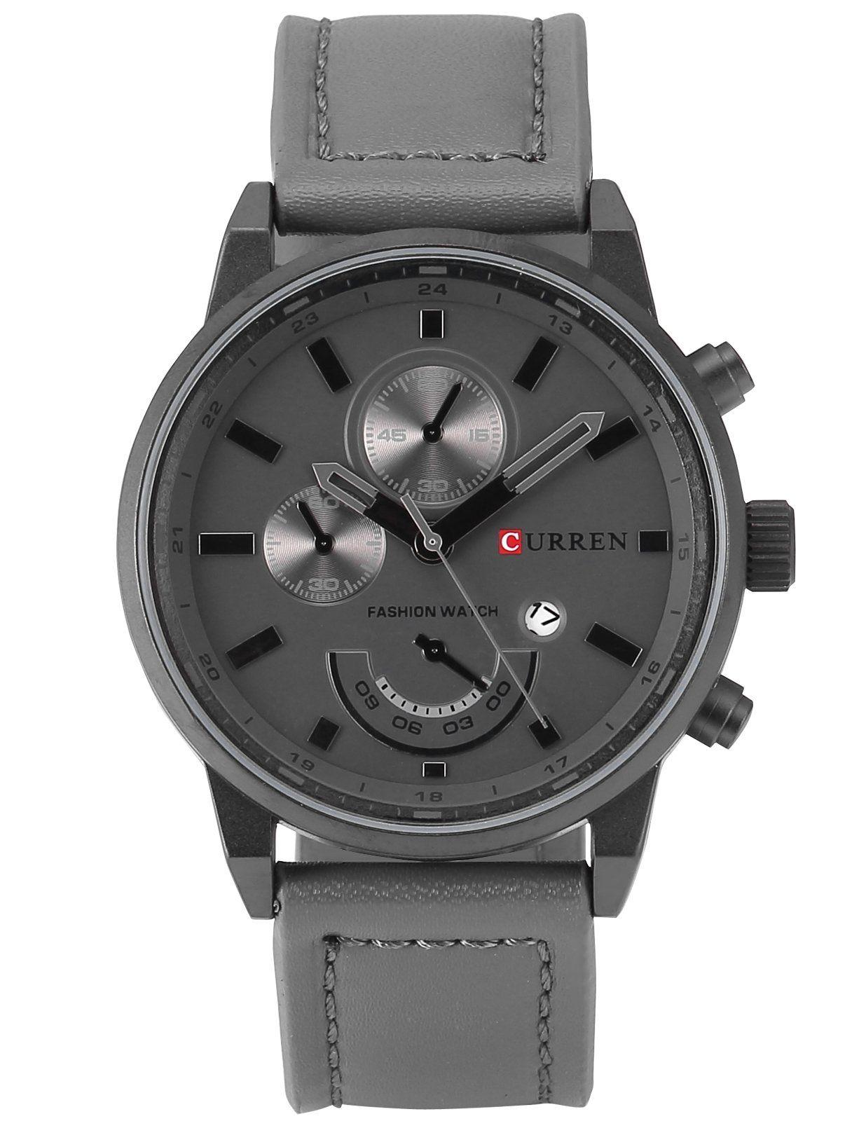 AMPM24 CUR118 Mens Quartz Wrist Watch Dress Leather Grey