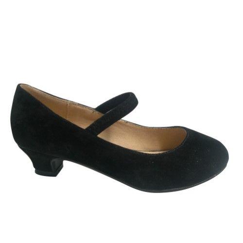 d6e2050cb80 Girls Black Suede Stretch Strap Low Heel Closed Round Toe Pumps 11-3 ...
