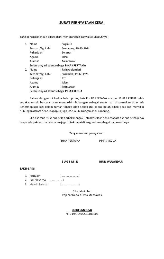 Surat Pernyataan Cerai Yang Bertandatangan Dibawahini
