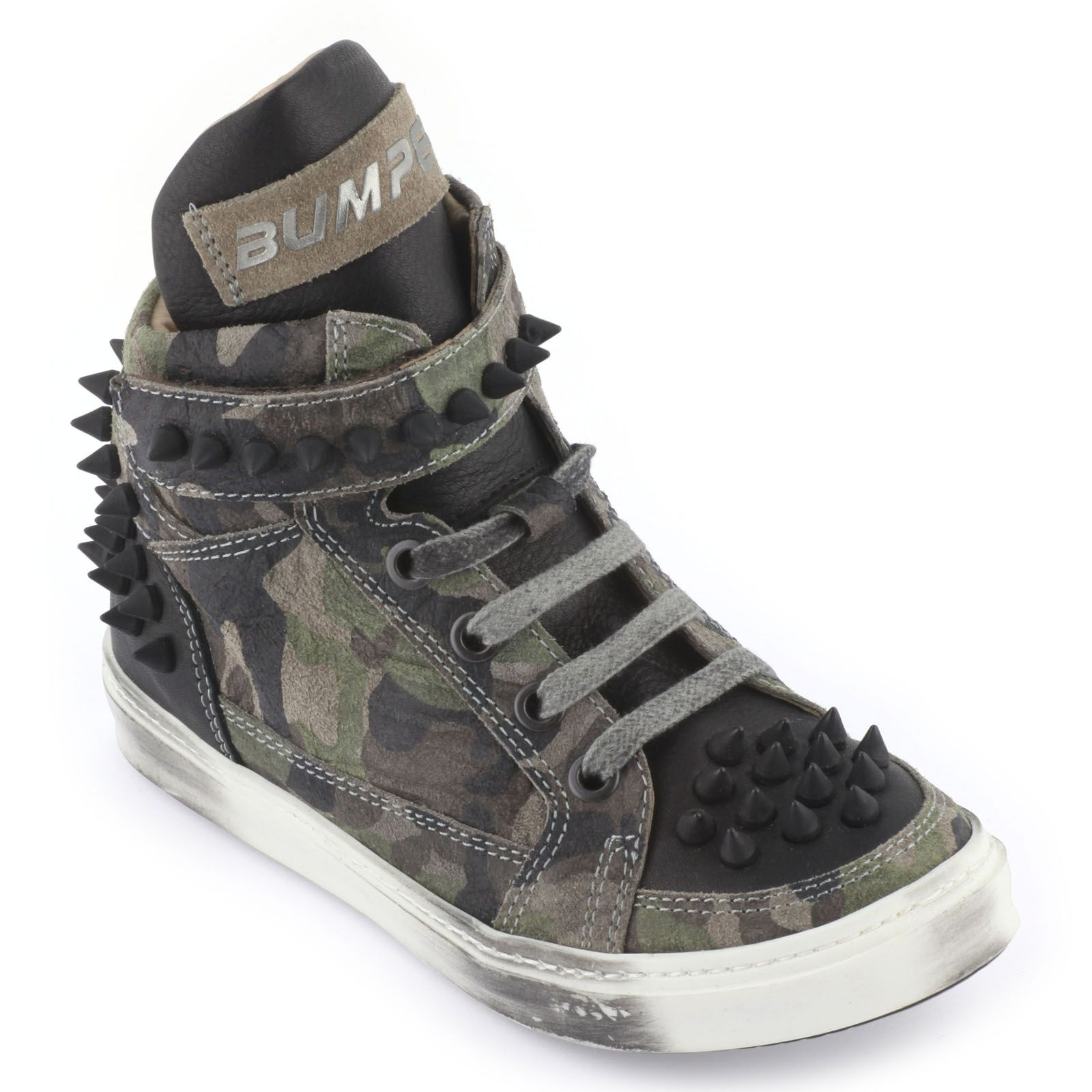 Camouflage leather trainers with laces by Bumper, at Melijoe.com!