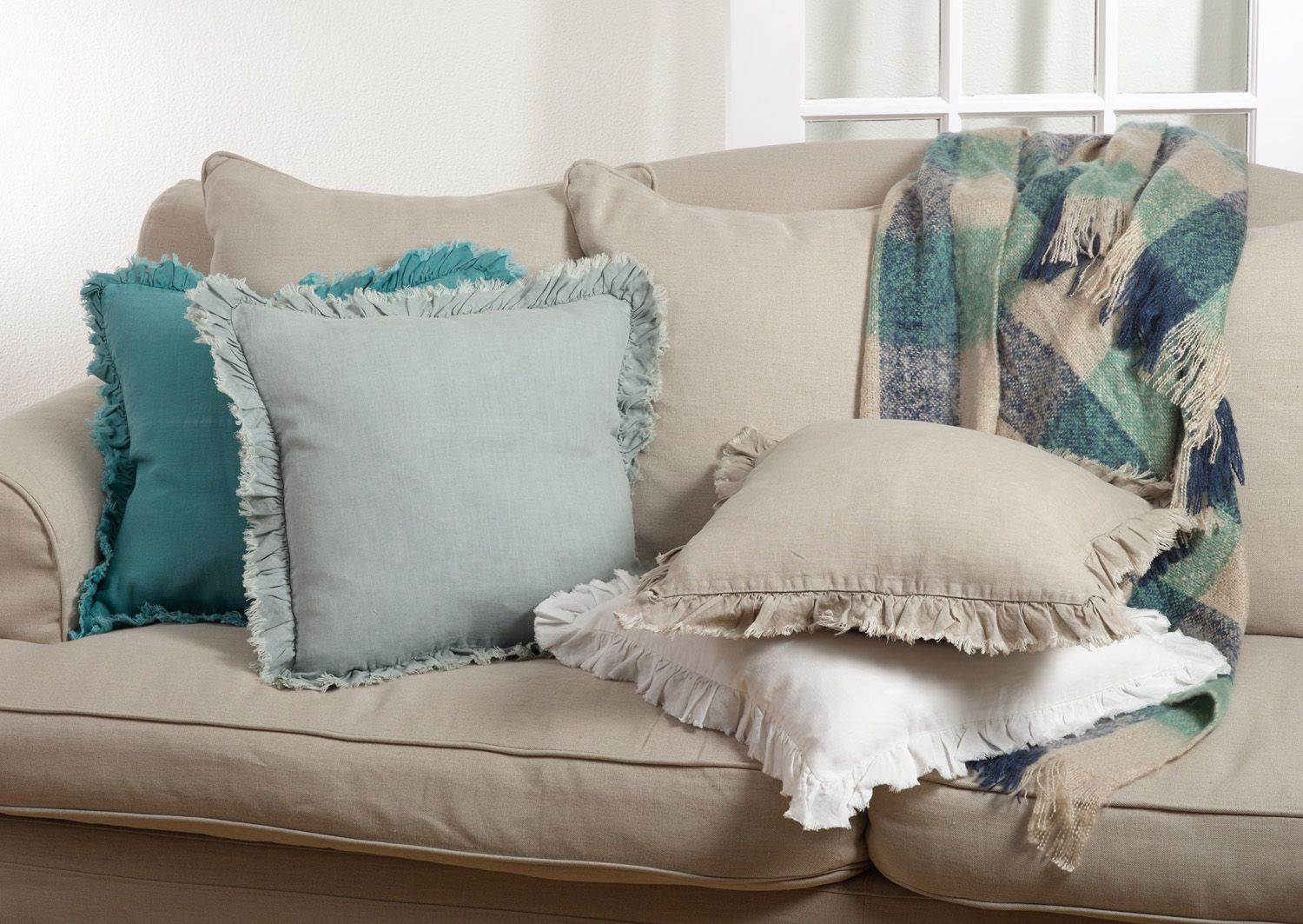 Leona Collection in Sea Green, Blue-Grey, Natural, Ivory ...