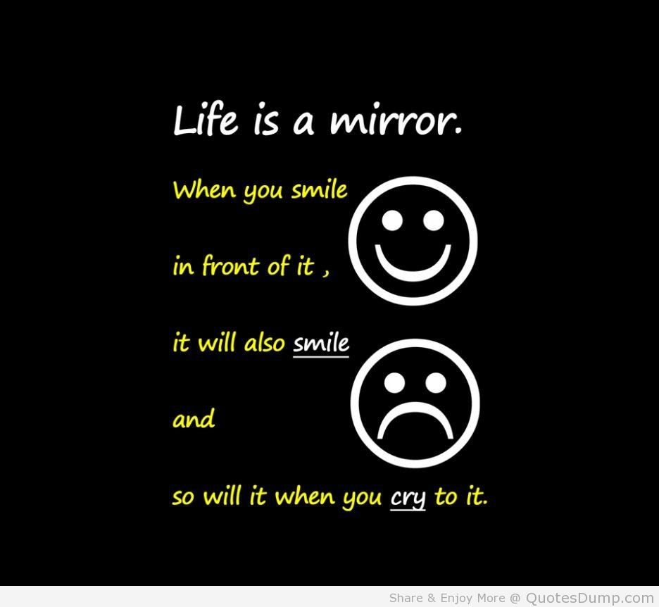 Humorous Quotes About Life Lessons Art Quotes Life Is A Mirror Quote With Emoticons Picture In Black