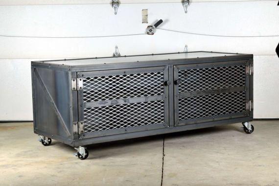 Credenza Con Llave : Industrial media console credenza storage cabinet pinterest