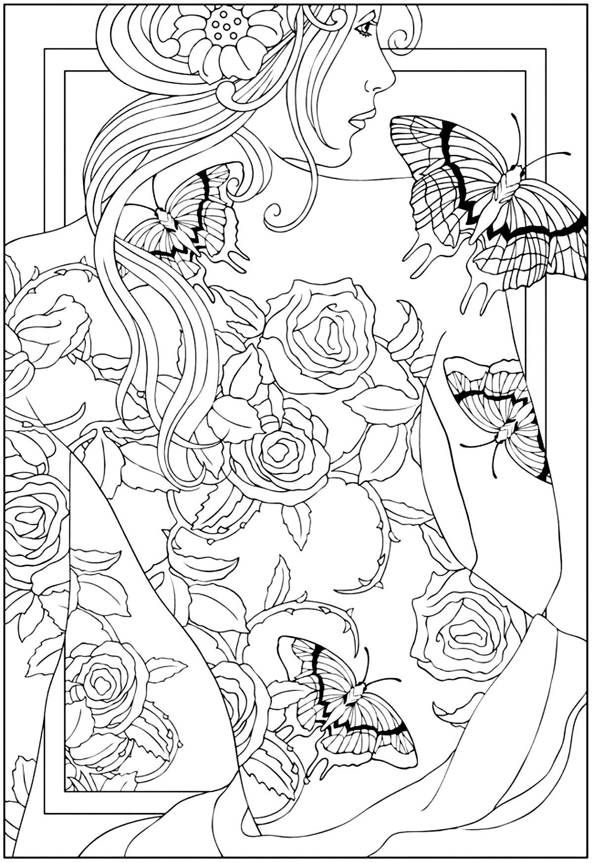 free coloring page coloring back tattooed woman coloring