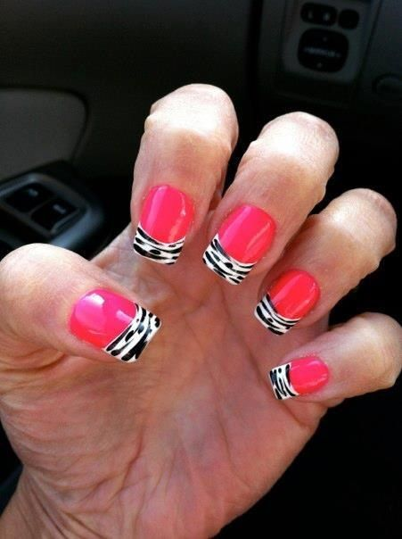 Hot Pink nail polish with zebra tips | Amazing nails ️ ...