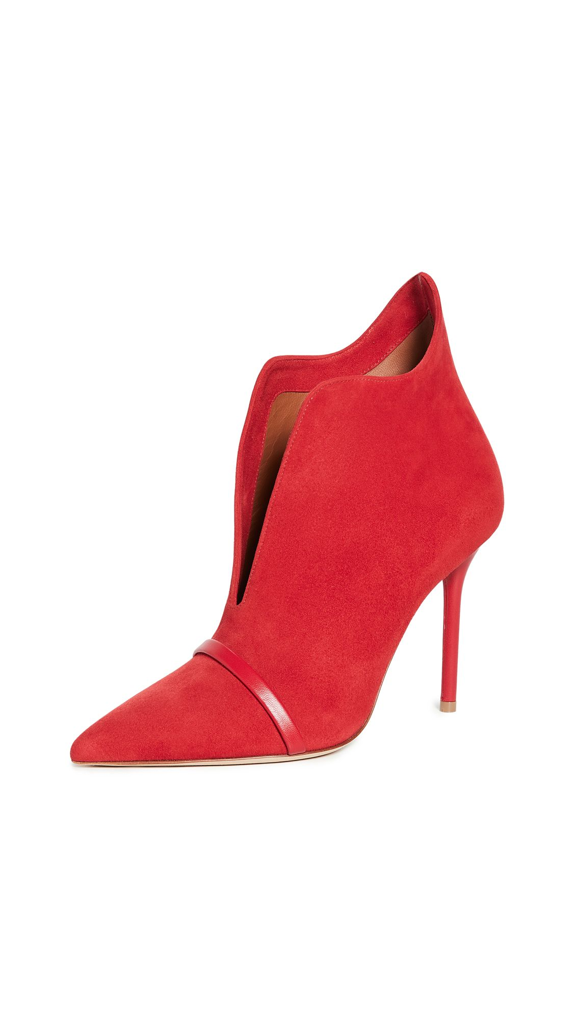 Cora Ms 100 High Heels Ankle Boots In Red Suede High Heel Boots Ankle Malone Souliers Suede Leather Boots