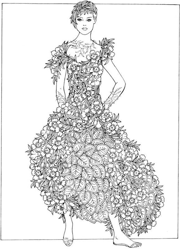 Creative Haven Flower Fashion Fantasies Coloring Book Dover