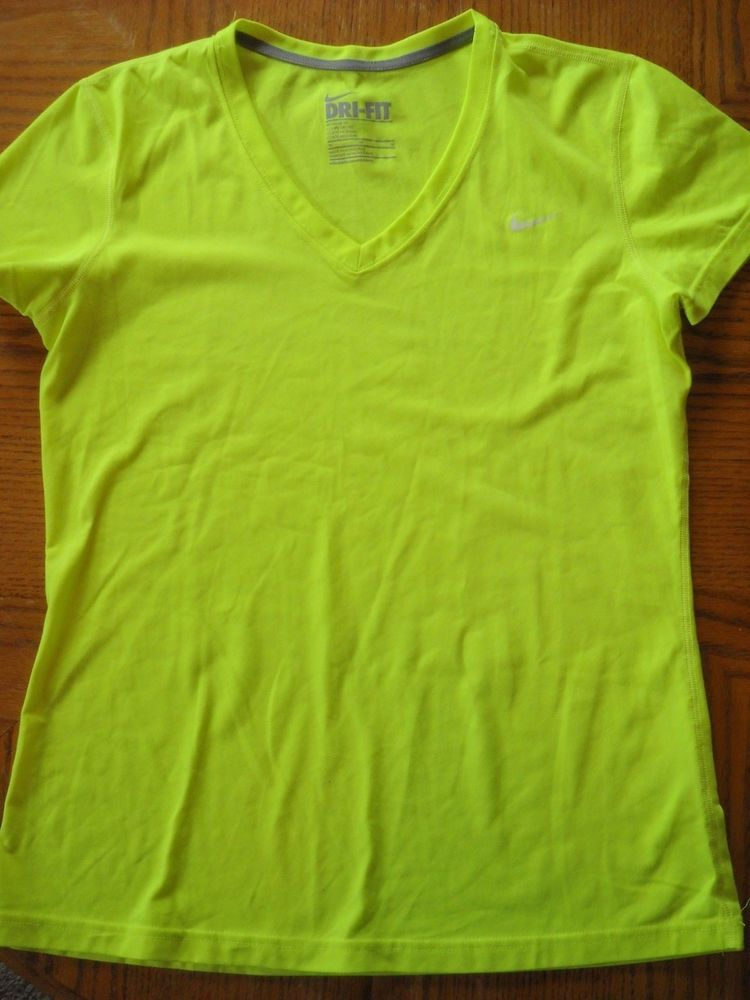 048f29e83 Womens NIKE Dri-Fit Short Sleeve V-Neck Shirt--Neon Yellow--Size  Medium--GREAT!! #fashion #clothing #shoes #accessories #womensclothing  #activewear (ebay ...
