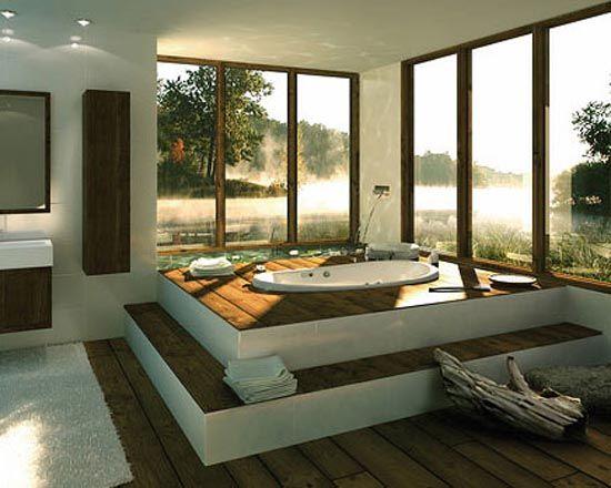 Luxury Bathroom Design Wide Wood Floor Boards Retractable Windows Onto Terrace To Make Bathroom Design Luxury Beautiful Bathrooms Natural Bathroom Interior