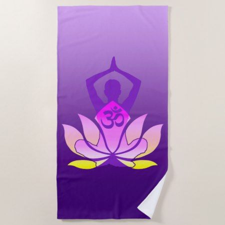 Om lotus flower yoga pose on purple gradient beach towel lotus om lotus flower yoga pose on purple gradient beach towel lotus flower yoga poses and beach towel mightylinksfo