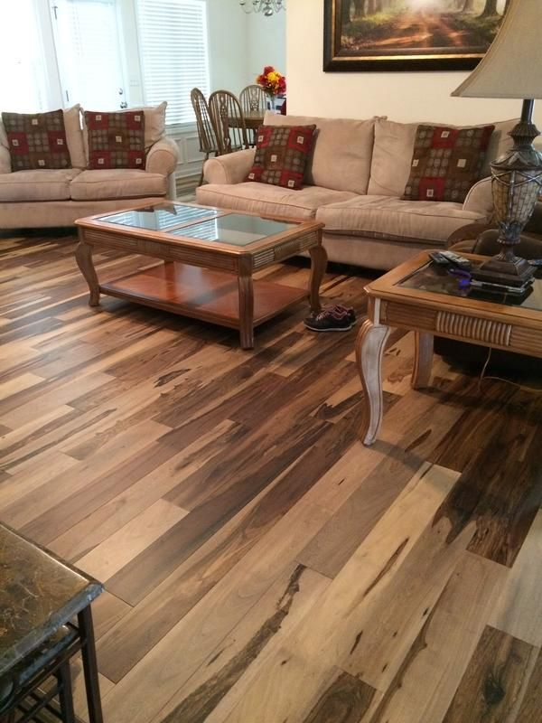 Bellawood Matte Brazilian Pecan Hardwood In A Customer Living Room This Photo Does Not Do The Beauty Of This Floor Just Wood Floors Flooring House Flooring