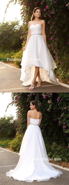 Simple cheap organza aline high low wedding dresses online