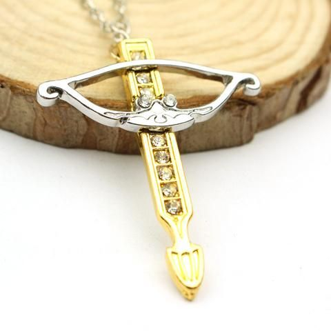 """FREE"" The Walking Dead Daryl Rhinestone Bowman Bow And Arrow  Necklace - JUST PAY SHIPPING!!!"