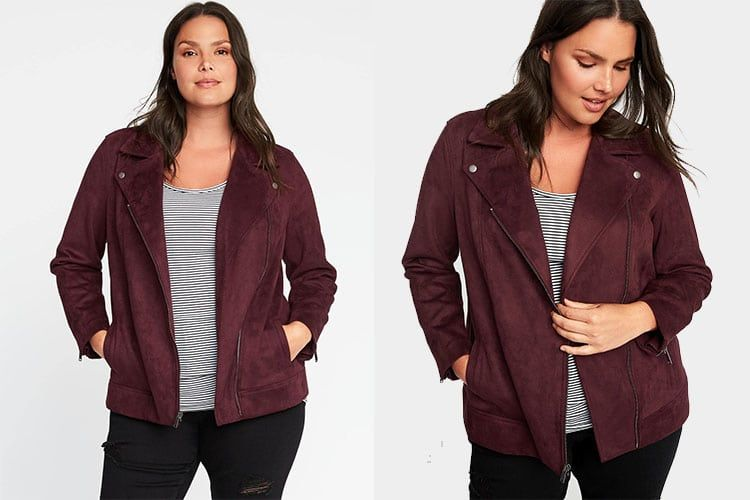 d4708fef392  PlusModelMag Plus Fashion Find  Sueded-Knit Moto Jacket from Old Navy   PLUSmodelmag