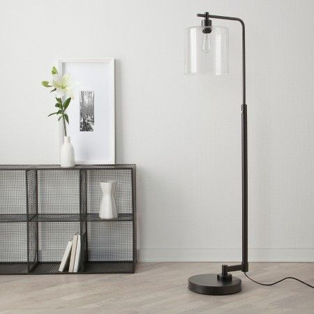 Seeded Glass Industrial Floor Lamp Oil Rubbed Bronze (Includes ...