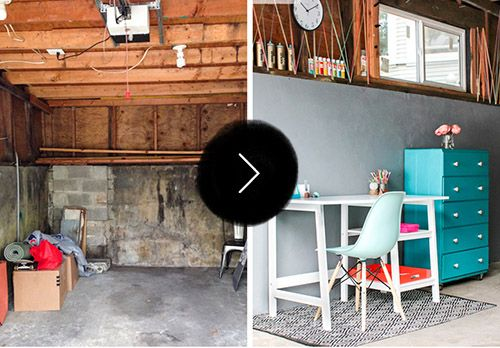 Before After An Unused Garage Becomes A Colorful Craft Studio