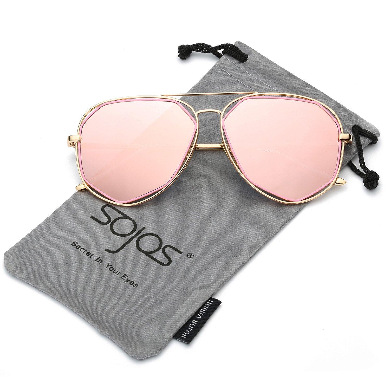 bb8e0c7ef96 SojoS Aviator Sunglasses Metal Frame Flat Mirrored Lens SJ1004 ...