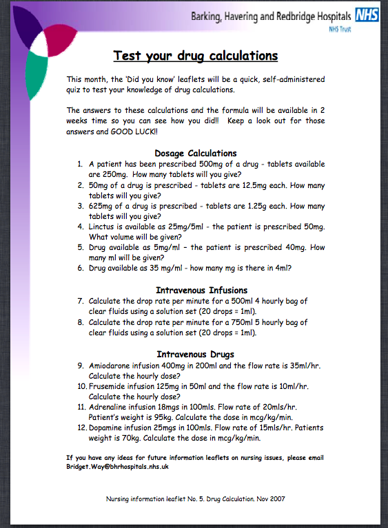 This is a photo of Printable Dosage Calculations Practice Problems for rate conversion