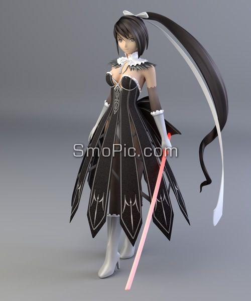 3D cute female swordsman model blender format maps free download ...