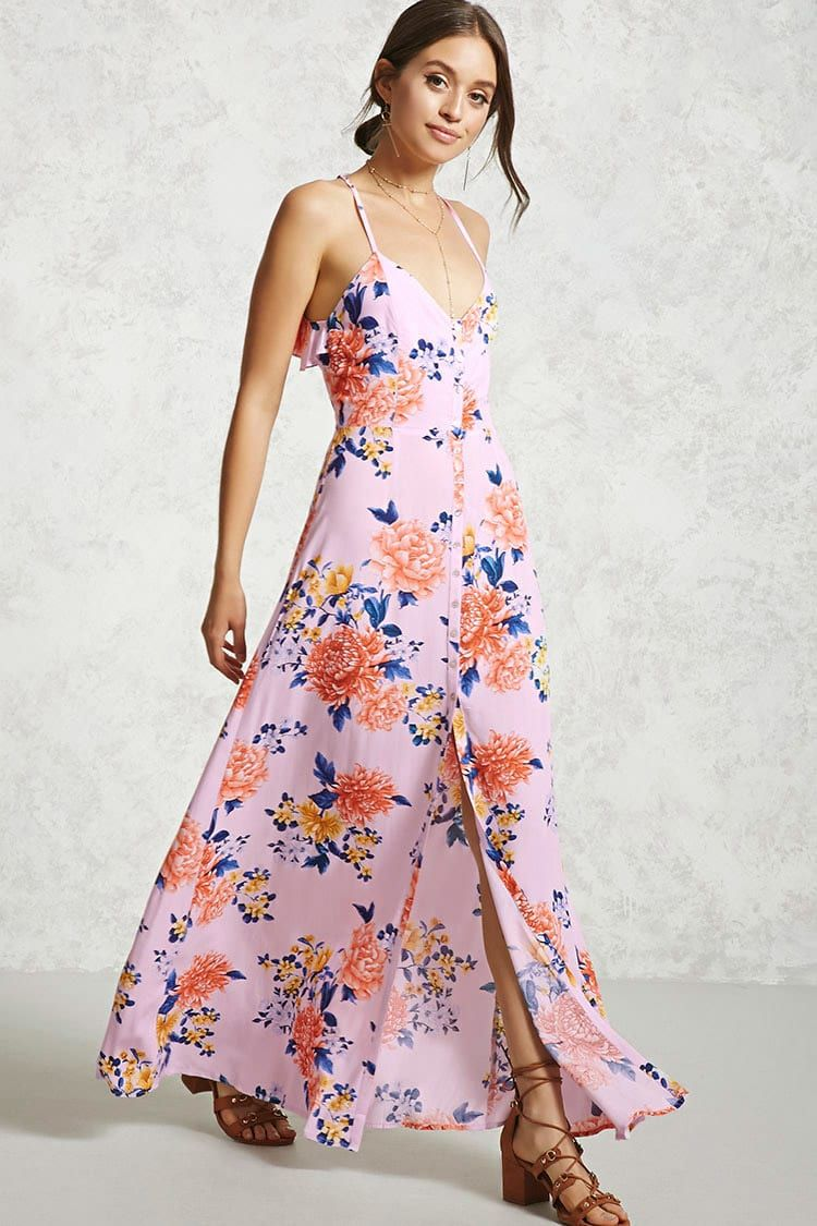 f228e93b72704 Floral Open-Back Maxi Dress Strappy Maxi Dress, Maxi Dress With Slit, White