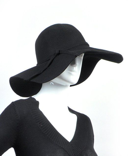 0b92b3999959 Amazon.com: Big Beautiful Ribbon Band Black Solid Color Wool Foldable Floppy  Hat: Clothing
