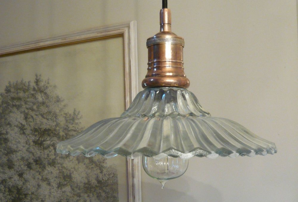 French Bistro Vintage Style Retro Glass Ceiling Lamp Light Shade