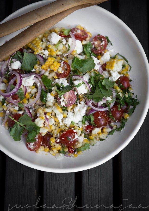 salaatti grillatusta maissista