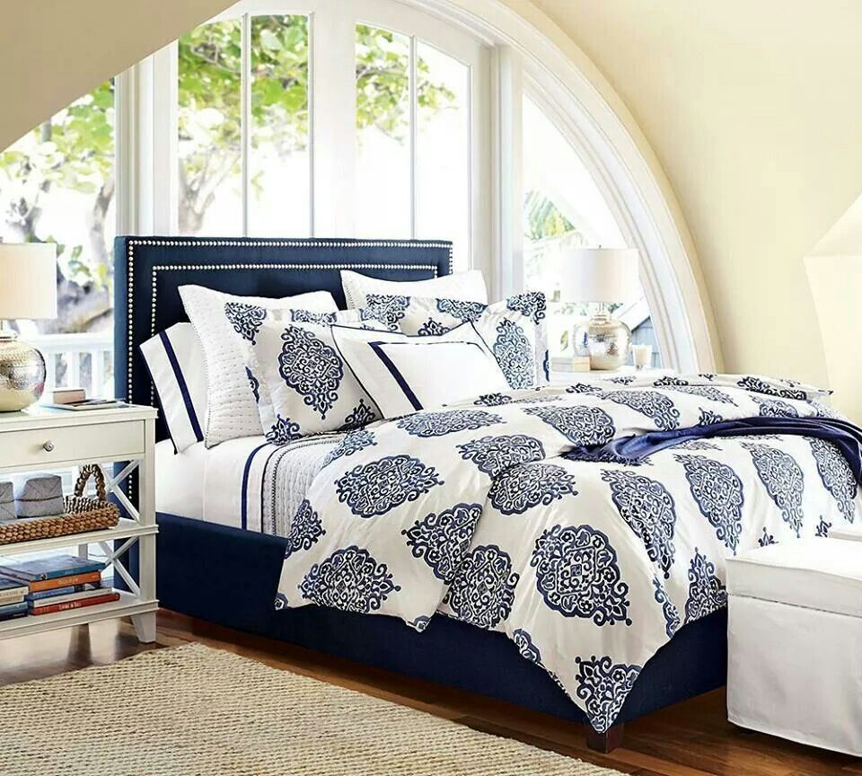 Love the navy and white bedroom scheme. Bedroom design
