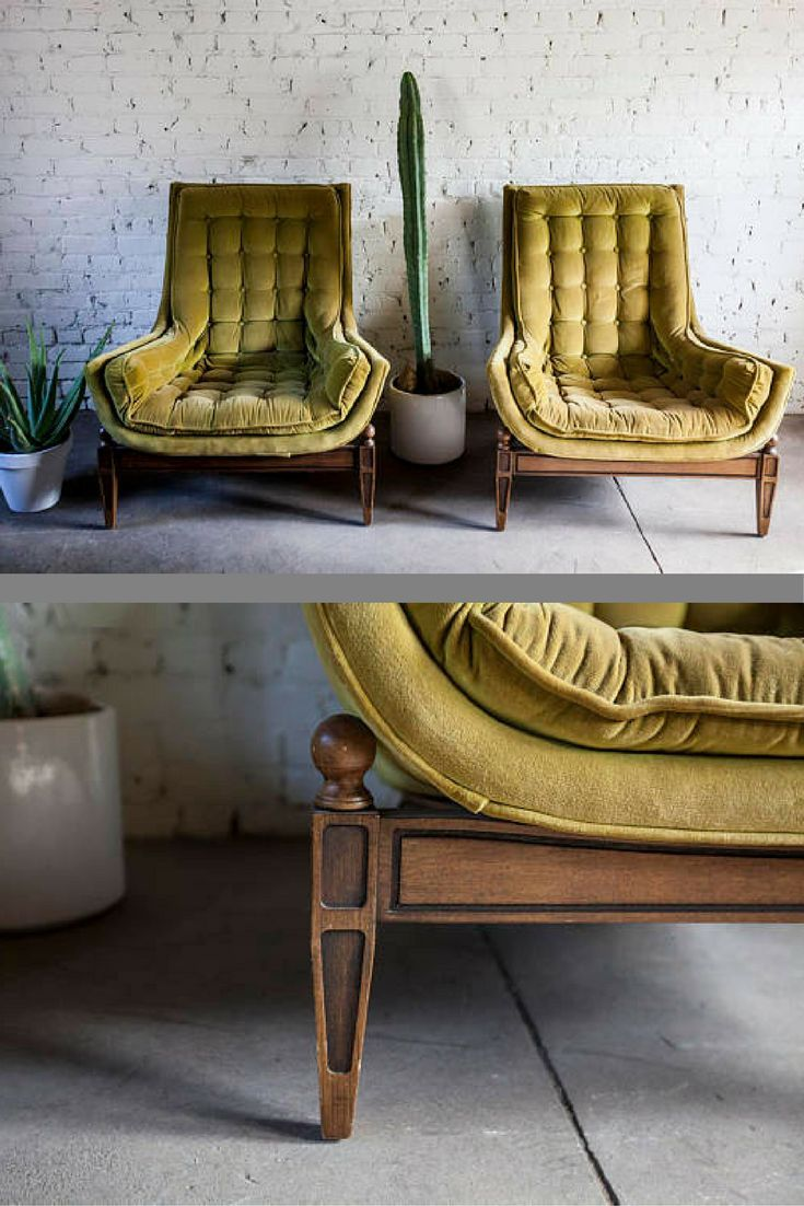 Stunning Vintage Mid Century Modern Velvet Tufted Adrian Pearsall Style Chairs Furniture Home Decor