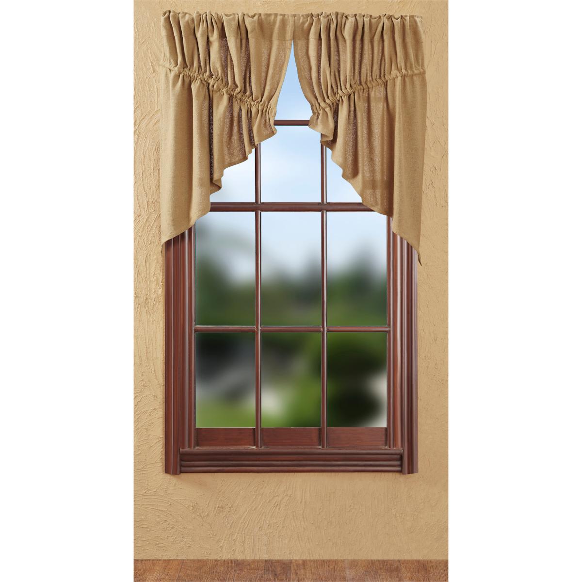 Burlap Natural Tan Prairie Swag Curtain