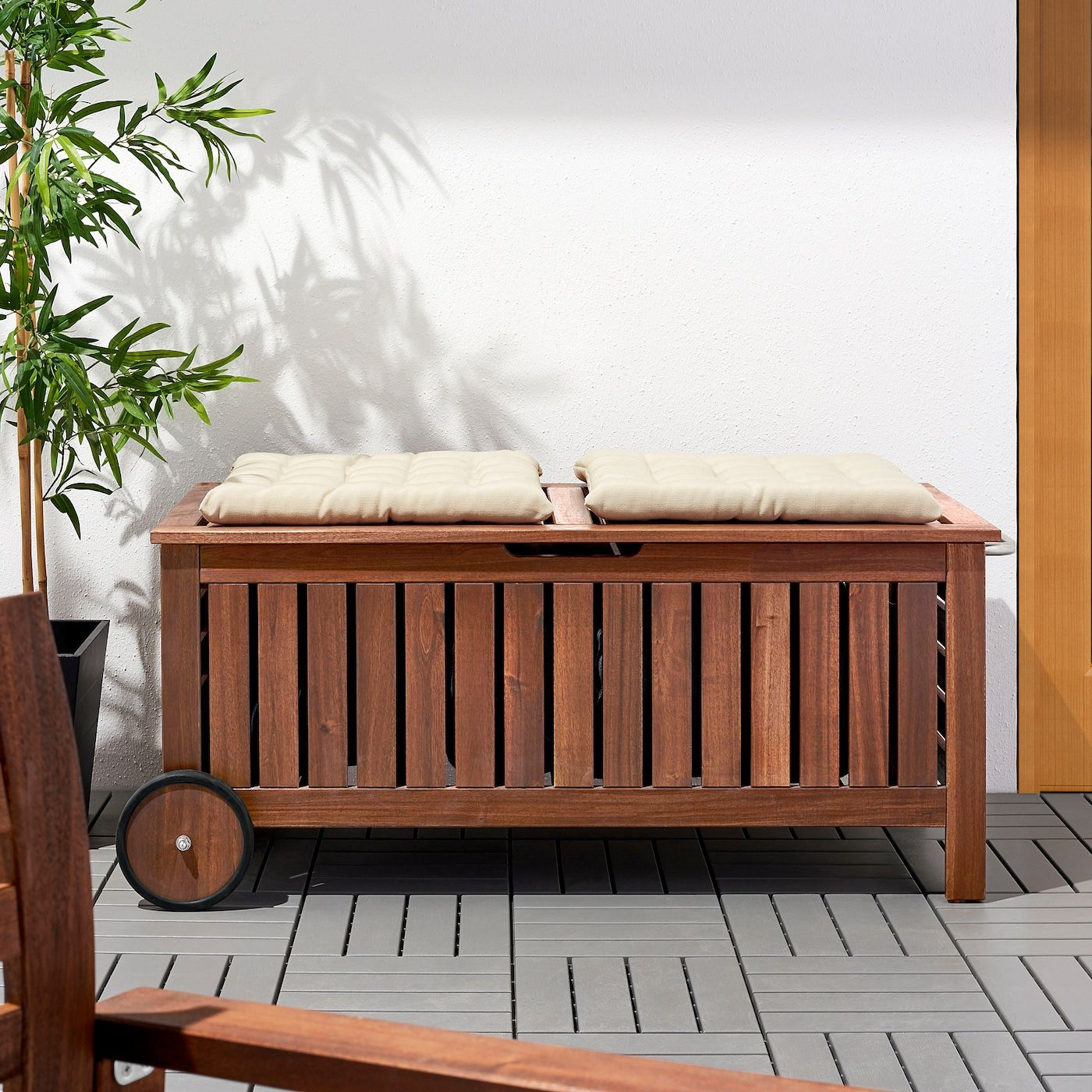 Ikea Applaro Brown Stained Brown Storage Bench Outdoor In