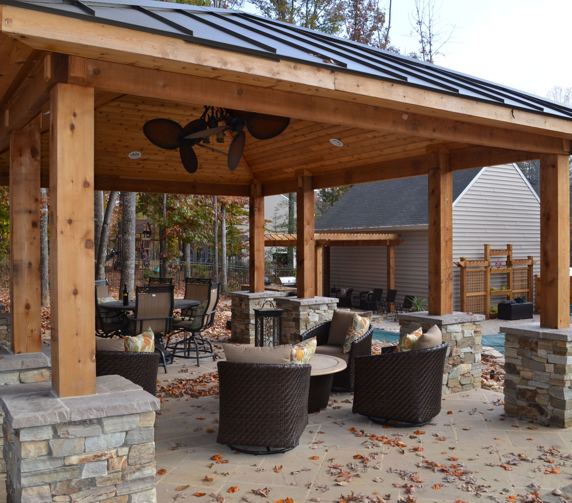 outdoor fireplace pavilion | western red cedar pavilion, fireplace