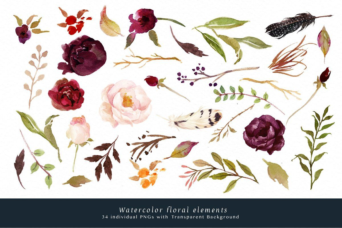 Watercolor Flower Clip Art Marsala With Images Flower Clipart